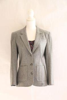 Pendleton Womens Blazer Jacket 100% Virgin Wool Gray Sz 10 L/S Pockets Lined USA #Pendleton #Blazer