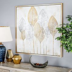 'Gold and Silver Veined Leaves' Hand Painted Framed Canvas Wall Art, Matte Gold And Silver Gold Leaf Art, Gold Wall Art, Leaf Wall Art, Framed Wall Art, Wall Art Decor, Silver Leaf Painting, Canvas Frame, Canvas Wall Art, Canvas Art Prints