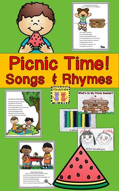 Anytime is the perfect time for a picnic! Rev up students' appetites for picnic fun with these tasty and thematic circle-time songs and rhymes. Great for the end of school and summer school! Preschool Themes, Preschool Learning, Kindergarten Activities, Classroom Themes, Class Activities, Summer Crafts For Toddlers, Summer Activities For Kids, Picnic Activities, Toddler Activities