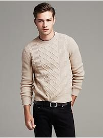 Cable-Knit Extra-Fine Merino Wool Crew Pullover