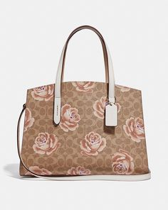 f7853ee638083 CHARLIE CARRYALL IN SIGNATURE ROSE PRINT Coach Handbags