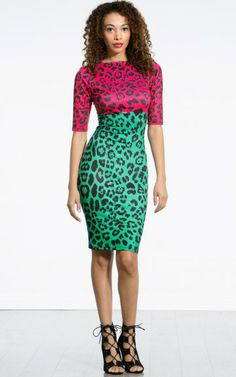 Two Tone Leopard Midi Dress