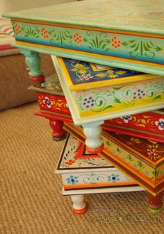 painted tables - Bing Images always nice when mixed with some greige/khaki/ would be lovely way to paint her furniture...
