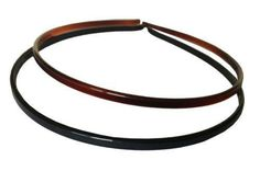 Parcelona French Skinny Set of 2 Black And Tortoise Shell Brown Thin Headbands