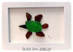 Sea Turtle Sea Glass Framed Art by WirednFiredJewelry on Etsy, $40.00