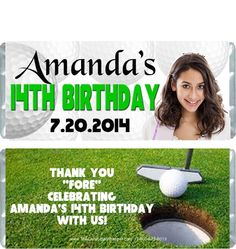 These golf birthday girl candy wrappers would work well for any golf lover or player whether an adult or child.  They can be persnalized however you would like by changing the font style, colors and text.