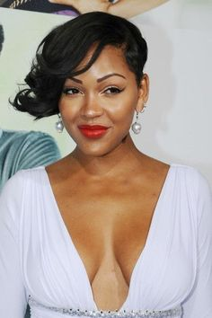 """Meagan Good Photos - Meagan Good attends the '""""Think like A Man"""" movie premiere at the Arclight Cinerama Dome in Hollywood, CA, USA. - Stars at the Premiere of 'Think Like a Man' Stylish Short Haircuts, Cool Short Hairstyles, Black Women Hairstyles, Teen Hairstyles, Casual Hairstyles, Pixie Haircuts, Medium Hairstyles, Braided Hairstyles, Meagan Good Short Hair"""