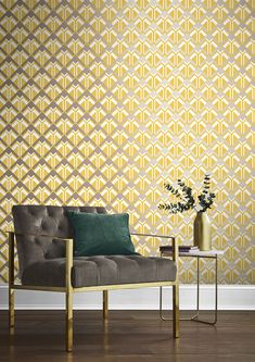 Inspired by the interior and architecture in the Great Gatsby, Beau Dazzle is a simple, clean geometric with bold metallic shapes, creating a strong statement design. Interior Design Living Room, Living Room Decor, Bedroom Decor, Drawing Room Paint, Grey And Gold Wallpaper, Gatsby, Mustard Wallpaper, Wooden Wall Panels, Modern Color Palette