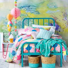 Adairs Kids Lena Quilt Cover Set, kids quilt covers, kids doona covers - love the pops of colour against a white backdrop. Adairs Kids, Cool Kids Bedrooms, Kids Rooms, Kids Bedroom Ideas For Girls, Girls Bedroom Colors, Kid Bedrooms, Kids Girls, Little Girl Rooms, Quilt Cover