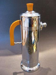 Vintage Art Deco Barware Keystoneware Chrome Cocktail Shaker w Bakelite   eBay