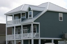 Steel siding is stronger and lasts longer than vinyl siding. Steel Siding, Vinyl Siding, Metal Roof, Metal Homes, House Plans, Porches, Louisiana, Outdoor Decor, Colors