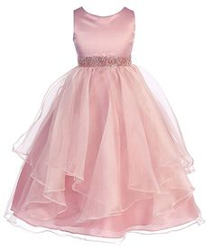 Girls Chic Baby Asymmetric Ruffles SatinOrganza Flower Girl Dress Rose4CB302 *** You can get more details by clicking on the image.