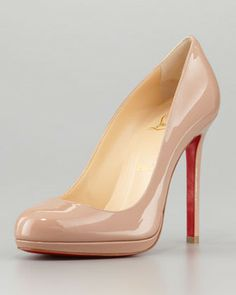 Christian Louboutin Neofilo Patent Round-Toe Red Sole Pump, Nude on shopstyle.com