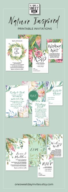 Nature inspired protea and gum leaf designs. Printable Wedding Invitation Range by One Sweet Day Invites. 90th Birthday Invitations, Country Wedding Invitations, Printable Wedding Invitations, Wedding Stationary, Protea Wedding, Dusty Rose Wedding, One Sweet Day, Nature Inspired Wedding, Free Wedding