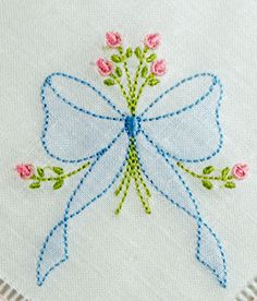 Crewel Embroidery Ideas Shadow Embroidered Bow with Rosebud Spray - KLD Embroidery Designs - Hungarian Embroidery, Hardanger Embroidery, Brazilian Embroidery, Paper Embroidery, Learn Embroidery, Japanese Embroidery, Hand Embroidery Stitches, Silk Ribbon Embroidery, Hand Embroidery Designs