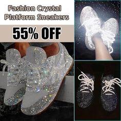 Women Muffin Rhinestone New Crystal Platform Sneakers – narachic Buy Sneakers, Sneakers Fashion, Fashion Shoes, Blue Fashion, Wedge Sneakers, Winter Fashion, Fashion Dresses, Glitter Tennis Shoes, Bling Shoes