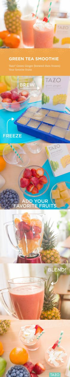 Give your next smoothie some extra zing when you swap out ice cubes for frozen Green Ginger, then blend in your favorite fruit.   Seconds, please!