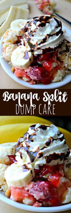 Banana Split Dump Cake - with all the flavors of a Banana Split - is the perfect no-melt alternative to the real thing! Banana Split Dump Cake - with all the flavors of a Banana Split - is the perfect no-melt alternative to the real thing! Summer Desserts, Easy Desserts, Delicious Desserts, Yummy Food, Health Desserts, Layered Desserts, Baking Desserts, Cake Baking, Homemade Desserts