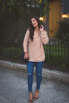 lace up sweater, distressed jeans, ag distressed skinny jeans, neutral sweater, fall fashion, fall style, fall outfit, off the shoulder sweater, off the shoulder lace up sweater, rebecca minkoff crossbody bag, steve madden strappy sandals, fall suede sandals, block heels, southern fashion blogger // grace wainwright a southern drawl