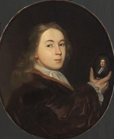 Ludolf Bakhuysen - Johannes Bakhuysen, met een miniatuurportret van zijn vader Ludolf