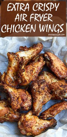 These air fryer chicken wings are extra crispy on the outside and super juicy in. - FooodThese air fryer chicken wings are extra crispy on the outside and super juicy inside. They are like deep-fried wings, only without a mess and added calories. Chicken Thights Recipes, Chicken Parmesan Recipes, Healthy Chicken Recipes, Cooking Recipes, Recipe Chicken, Chicken Salad, Chicken Meals, Air Fry Chicken Wings Recipe, Cooking Tips