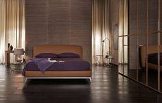 Olivier bed by Flou is upholstered in fabric or leather. Modern Italian furniture in Philadelphia, PA. Luxury Bedroom Furniture, Bed Furniture, Bedroom Decor, Bedroom Ideas, Leather Double Bed, Leather Bed, Chic Master Bedroom, Master Bedroom Design, Dark Laminate Floors