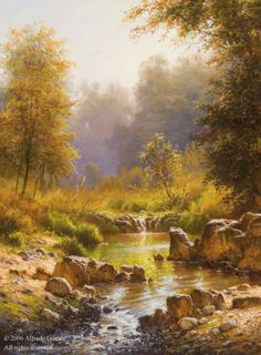 Autumn Splendor by Alfredo Gomez at Quent Cordair Fine Art - The Finest in Romantic Realism Watercolor Trees, Watercolor Landscape, Landscape Art, Landscape Paintings, Small Canvas Paintings, Great Paintings, Seascape Paintings, Cool Landscapes, Beautiful Landscapes