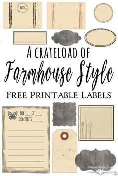 Pin this to remember to download your Farmhouse Style Labels to help organize in rustic style | Country Design Style | countrydesignstyle.com