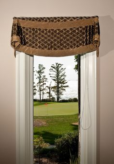 Banded Curved Bottom Bell Valance Window Treatment.