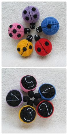 montessori toys crochet child gifts for kids ladybugs color learning game educational toys preschool montessori child toys toddler gift baby - - Ladybirds Ladybugs crochet Toddler Toys Plushie by KrugerShop Crochet Game, Crochet Baby Toys, Crochet Toddler, Love Crochet, Crochet For Kids, Diy Crochet, Crochet Gifts, Toddler Gifts, Toddler Toys