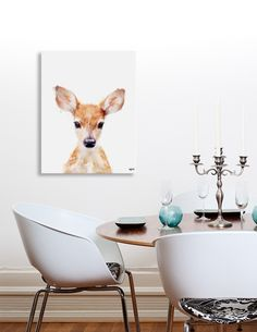 Canvas print of a baby deer on a white background, so cute! - #wallart #canvasprint #redhair #longears #cutedeer #curioos