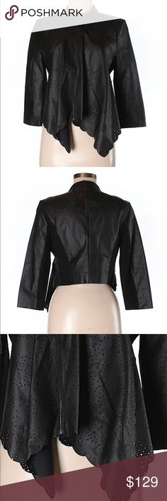 BCBGMaxazria faux leather jacket BCBGMaxazria faux leather jacket with eyelet detail and waterfall front. Size medium. New with tags attached. Ships within 7 -10 days. BCBGMaxAzria Jackets & Coats