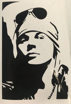 Guns N Roses Inspired Axl Decal by LeslisDesigns on Etsy Guns N Roses, Small Canvas Art, Axl Rose, Black And White Painting, Decals, Retro, Wallpaper, Tatoos, Kitchen Dining