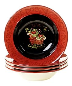 Another great find on #zulily! Christmas 9'' Pasta/Soup Bowl - Set of Four by Certified International #zulilyfinds