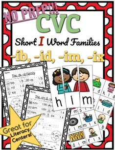 CVC *No Prep* - Short I Families -ib, -id, -im -ix. Help your students practice reading and writing CVC words with this Short I Family resource! No prep needed! Simply print and teach. Short I Words, Phonics Lessons, Phonics Reading, Cvc Words, Word Families, Curriculum, Literacy, Alphabet, Preschool