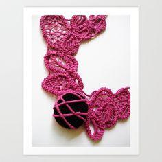 Black Pink Romanian Point Lace Photography Art Print by BaleaRaitzART - $38.48