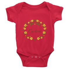 This personalized short-sleeve baby onesie is soft, comfortable, and made of 100% cotton. It's designed to fit infants of all sizes, with a rib knit to give good stretch an... #flowers