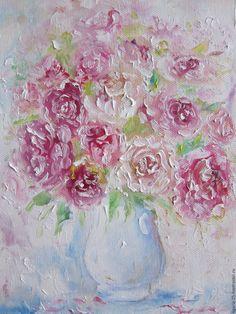 Купить Картина маслом Нежный букет Пробуждение - розовый, картина с цветами, цветущая весна, цветение