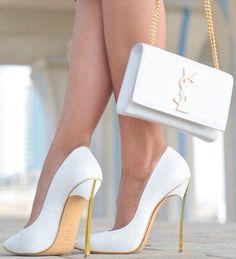 street style Casadei blade leather white + gold @wachabuy