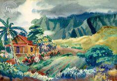 A California art print on Arches watercolor paper. archival, and printed in HD. Arches Watercolor Paper, Watercolor Artists, Watercolor Paintings, Abstract Paintings, Watercolors, Hawaii Life, Aloha Hawaii, Artistic Visions, Hawaiian Art