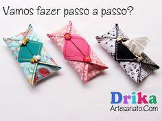 Porta lenços de papel bem práticos feitos com tecido. Disponível em <http://drikaartesanato.com/2014/07/porta-lencos-de-papel-bem-praticos-feito-com-tecido.html>