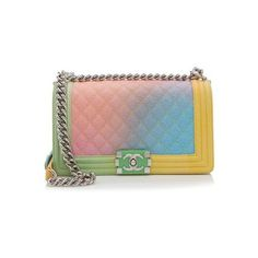 Rental Chanel Caviar Leather Rainbow Medium Boy Bag ($500) ❤ liked on Polyvore featuring bags, handbags, multi, real leather handbags, colorful handbags, multi colored handbags, chanel and multicolor handbags