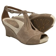 Earthies Veria Too Wedge Sandals - Suede (For Women) in Taupe Khaki Suede
