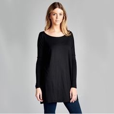 NEW Black Long Sleeve Tunic! Brand new black long sleeve tunic.  Lightweight and loose fit.  Made in USA. 96% Rayon, 4% Spandex. I have one L/XL and three S/M. Thanks :) April Spirit Tops Tunics