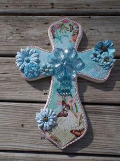 Синим Цветочным Роза Бабочка Потертый Романтический Шикарные Декоративные Настенные Креста