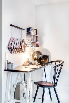 work space, ideas for hanging magazines