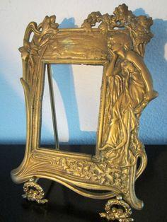 Vintage Art Nouveau Style Solid Brass Lady Woman Photo Picture Frames Set Of 3 Catalogues Will Be Sent Upon Request Art Nouveau
