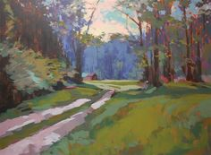 impressionism art,landscape art, acrylic painting, Farm Road