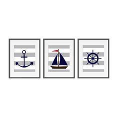 La lona imprime náutica arte de pared de la lona por PrintArtShoppe