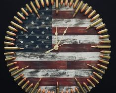 Bullet Clock on Target with Inert Ammo. Great gift for shooters, hunters, military, man cave, gun gift Bullet Clock on Target with Inert Ammo. Great gift for Diy Wood Projects, Wood Crafts, Woodworking Projects, Diy And Crafts, Ammo Crafts, Redneck Crafts, Diy Projects For Men, Woodworking Plans, Diy For Men
